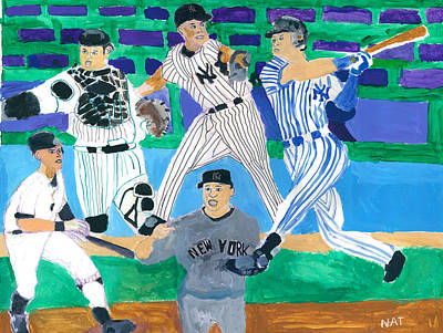 Ny Yankees Mixed Media - The  Yankees Fab 5 by Nat Solomon