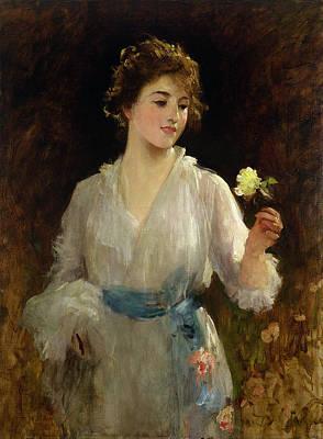 Nineteenth Century Painting - The Yellow Rose by Sir Samuel Luke Fildes