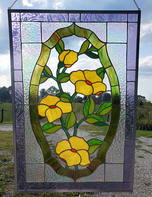 The Yellow Roses Stained Glass Panel Art Print by Arlene  Wright-Correll