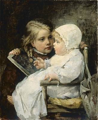 Highchair Painting - The Young Artist by Ellen Kendall Baker