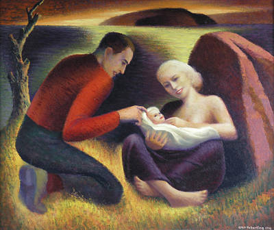 Family Love Painting - The Young Family  by Glen Heberling