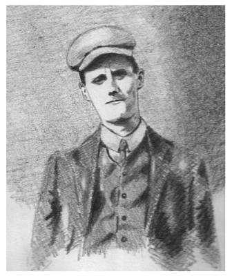 Pencil Portrait Drawing - The Young James Joyce by John  Nolan