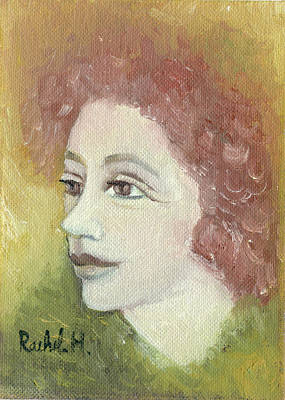 Painting - The Young Rachel Maybe Ginger Redhead Face In Green Yellow Red Large Eyes Plump Lips  And Neck  by Rachel Hershkovitz