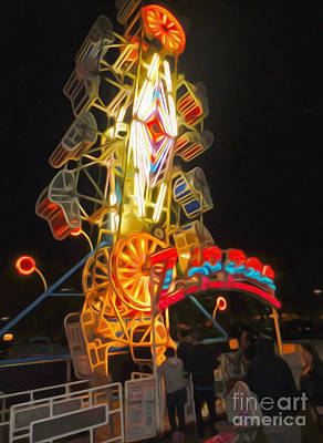 Painting - The Zipper - Carnival Ride by Gregory Dyer