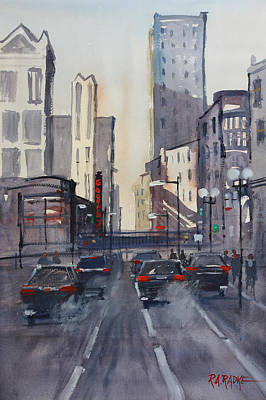 Dearborn Painting - Theatre District - Chicago by Ryan Radke