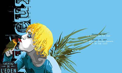 Lovebird Digital Art - Theatre Du L' Eden Postcard by Melanie Todoroff