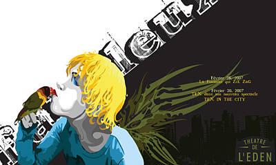 Lovebird Digital Art - Theatre Du L' Eden Postcard Version 2 by Melanie Todoroff