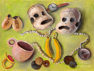 Painting - Their Lives    Relics From Sock Monkeys' Lives by Randy Burns