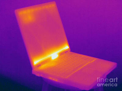 Thermographic Photograph - Thermogram Of A Laptop Computer by Ted Kinsman