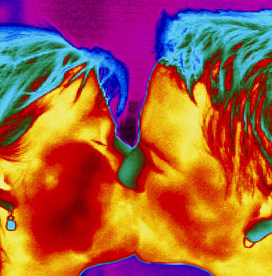 Thermogram Of A Man And Woman Kissing Art Print by Dr. Arthur Tucker