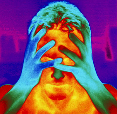 Thermogram Of A Man's Head And Hands Art Print by Dr. Arthur Tucker