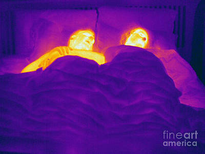 Thermographic Photograph - Thermogram Of A Sleeping Couple by Ted Kinsman