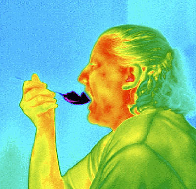 Thermogram Of A Woman Eating Ice Cream Art Print by Dr. Arthur Tucker