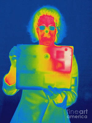 Thermographic Photograph - Thermogram Of A Woman With A Laptop by Ted Kinsman