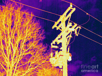 Thermographic Photograph - Thermogram Of Electrical Wires by Ted Kinsman
