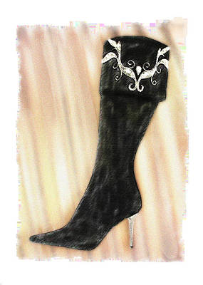 Footwear Painting - These Boots Are Made For Stompin' by Elaine Plesser