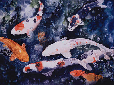 Fish Painting - They're Not Coy by Eve Riser Roberts