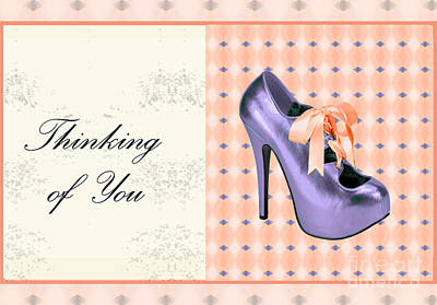Thinking Of You Bow Shoe Art Print by Maralaina Holliday