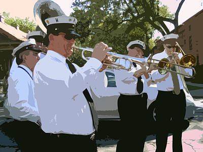 New Orleans Jazz Digital Art - Third Line Brass Band by Renee Barnes