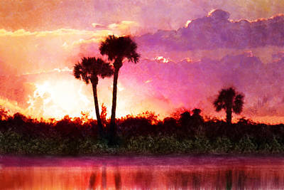 Digital Art - Third Palm Sunset by Francesa Miller