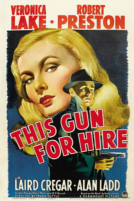 This Gun For Hire, Veronica Lake, Alan Art Print by Everett