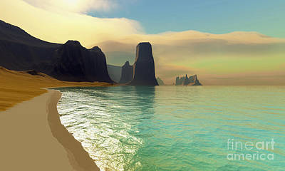 Desert Island Digital Art - This Ocean Beach Is Colored by Corey Ford