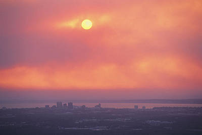 This Sunset Of The Anchorage Skyline Art Print by George F. Mobley