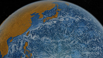 Relief Map Digital Art - This Visualization Shows Ocean Surface by Stocktrek Images