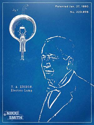 Thomas Edison Lightbulb Patent Artwork Art Print by Nikki Marie Smith