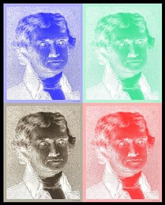 Photograph - Thomas Jefferson In Negative Quad Colors by Rob Hans