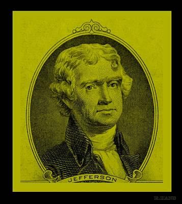 Thomas Jefferson In Yellow Art Print by Rob Hans