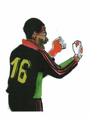 Goalkeeper Drawing - Thomas Nkono by Emmanuel Baliyanga