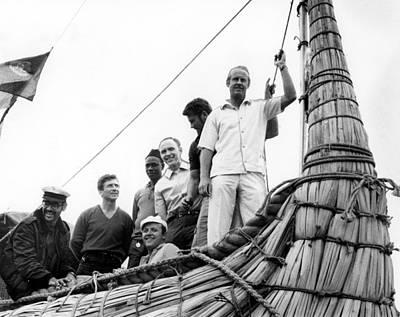 Thor Heyerdahl And Crew On Ra Print by Everett