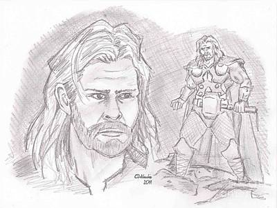 Drawing - Thor Odinson- God Of Thunder by Chris  DelVecchio