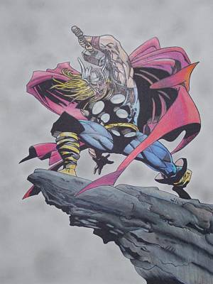 Thor Drawing Drawing - Thor by Tom Russick