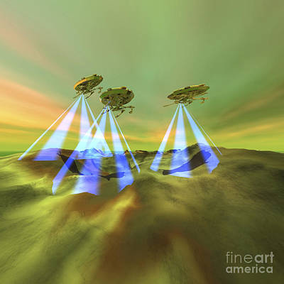 Three Alien Spaceships Steal Art Print by Corey Ford