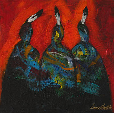 Painting - Three At The Fire by Lance Headlee