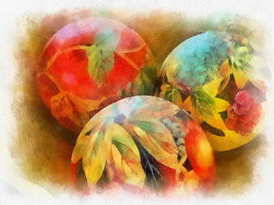 Digital Art - Three Balls - Watercolor by Charles Muhle