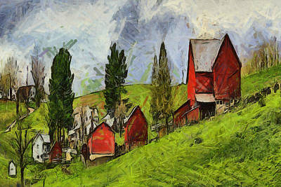 Laura James Photograph - Three Barns In A Row by Laura James