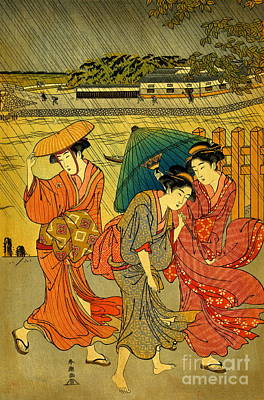 Three Beauties In The Rain 1788 Art Print by Padre Art