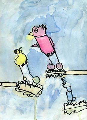 Painting - Three Birds One Tree by Bella