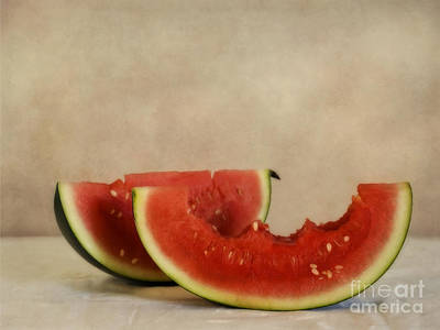 Melons Photograph - Three Bites Of Summer by Priska Wettstein