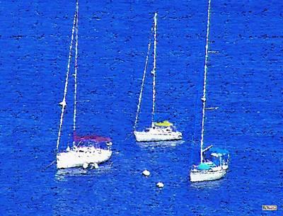 Mixed Media - Three Boats by Paula Greenlee