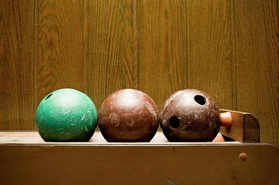 Wood Grain Photograph - Three Bowling Balls by Benne Ochs