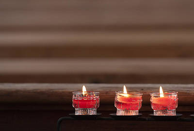 Photograph - Three Candles Burning In A Church by Matthias Hauser