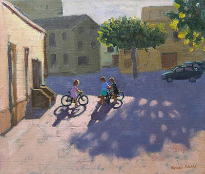 Spanish Town Painting - Three Children With Bicycles In Spain by Andrew Macara