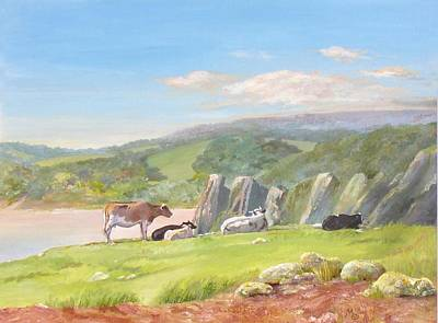 Painting - Three Cliffs Bay Gower by Maureen Carter