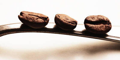 Kaffee Photograph - Three Coffee Beans by Falko Follert