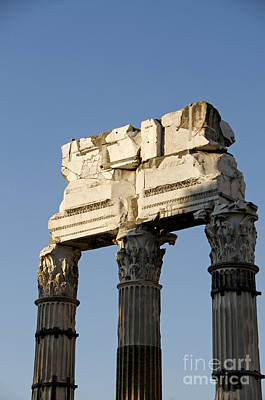 Three Columns And Architrave Temple Of Castor And Pollux Forum Romanum Rome Italy. Art Print by Bernard Jaubert
