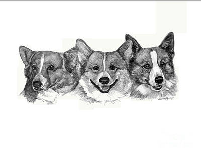 Three Corgies Art Print by Deb Gardner